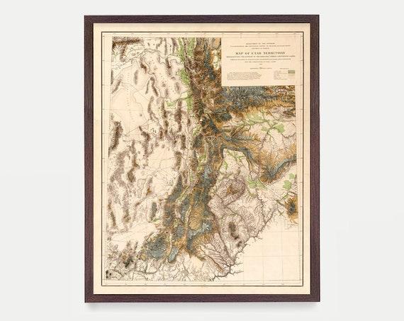 Utah Map - Utah Art - Utah Poster - Utah Decor - Salt Lake City - Salt lake Poster - Utah Wall Art - Vintage Utah - Utah Wedding Gift