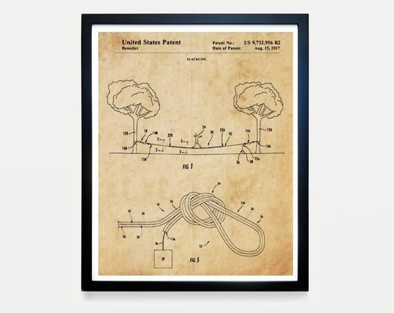 Slacklining Patent - Slacklining Poster - Slackline Patent - Slacklining Decor - Urbanlining - Tricklining - Highlining - Yoga Patent