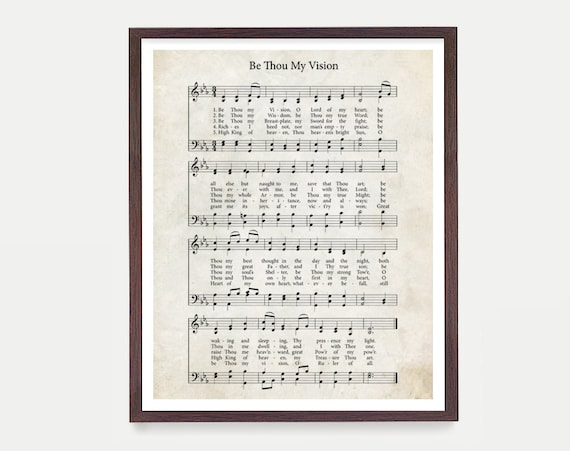 Be Thou My Vision Hymnal Print, Hymn Poster, Music Decor, Music Print, Hymnal Poster, Hymnal Decor, Music Minister Gift, Music Gift