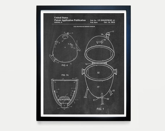 Big Green Egg Patent - BBQ Patent - BBQ Wall Art - BBQ Poster - Barbecue - Grill Art - Barbecue patent - Barbecue Poster - Grill Poster