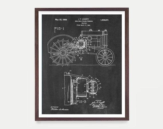 John Deere Tractor Patent - Tractor - Tractor Art - Tractor Patent - Tractor Poster - Farm - Farming Art - John Deere Art - Farmhouse Art