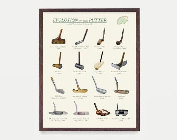 Golf Poster, Evolution of the Golf Putter, Golf Art, Golf Gift, Golf Wall Art, Vintage Golf, Golf Ball Patent, Golf Patent, Golfer Gift