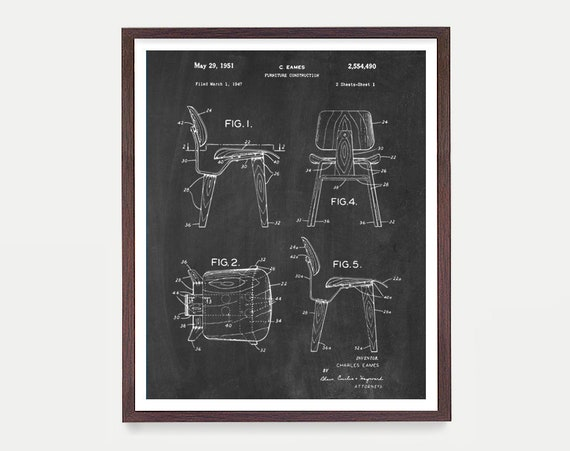 Eames Patent - Eames Chair Patent Poster - Eames Chair - Charles Eames - Home Decor - Modern Art - Eames Art - Mid Century Wall Art - Canvas