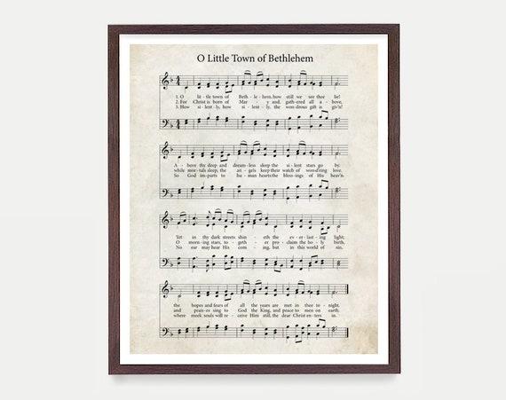 O Little Town of Bethlehem Hymnal Print, Hymn Poster, Music Decor, Music Print, Hymnal Poster, Hymnal Decor, Music Minister Gift, Music Gift