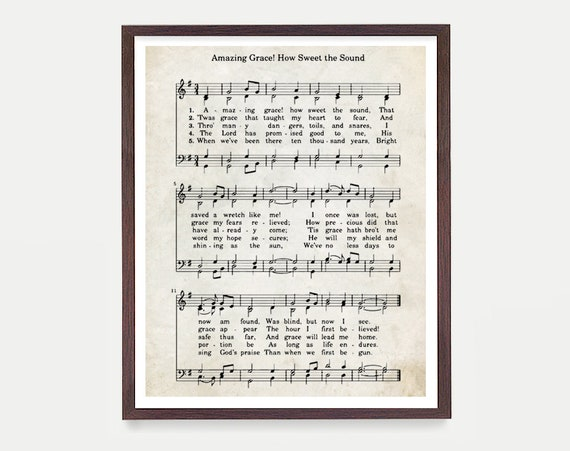 Amazing Grace Hymnal Print, Hymn Poster, Music Decor, Music Print, Hymnal Poster, Hymnal Decor, Music Minister Gift, Music Gift
