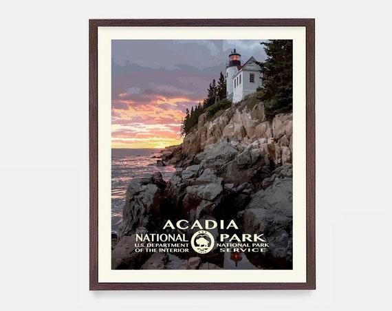 Acadia National Park - Acadia Poster - Acadia National Park Art - National Park Poster - WPA - WPA Poster - Acadia Art - Maine - Maine Art