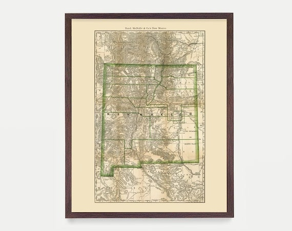 New Mexico Map - NM Map - Map Art - Map Decor - State Map - New Mexico Art - New Mexico Decor - New Mexico Wall Art - Old Map