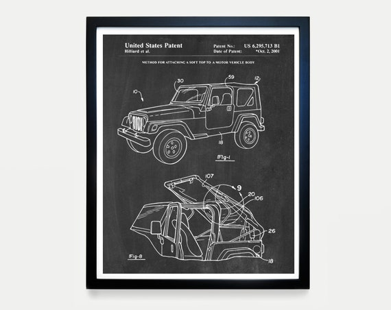 Jeep Wrangler - Jeep Poster - Jeep Patent - Jeep Art - Jeep Patent Art - Jeep Wrangler Patent - Vintage Jeep - Wrangler Patent - Jeep Decor