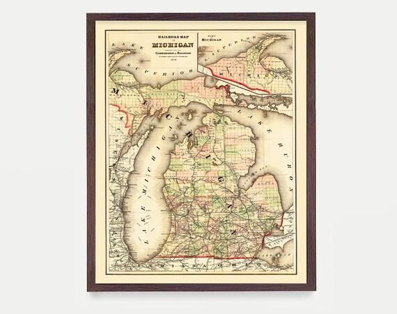 Michigan Map, Michigan Map Art, Map Decor, Michigan Gift, Michigan Art, Great Lakes Map Art, Michigan Wall Art, St Paul, Home Decor
