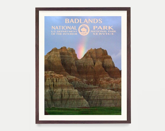 Badlands National Park - Badlands Poster - Badlands National Park Art - National Park Poster - WPA - WPA Poster - WPA Art - Badlands wpa