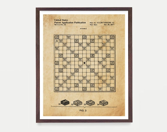 Board Game Poster, Scrabble Patent Art, Game Room Decor, Toy Room Wall Art, Word Game, Literary Gift