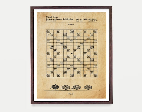Scrabble Patent Art - Scrabble - Scrabble Poster - Scrabble Print - Scrabble Wall Art - Scrabble Decor - Scrabble Gift - Words with Friends