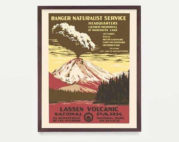 Lassen National Park Poster, National Park Art, National Park Wall Art, WPA Poster, Hiking, Backpacking Art, Camping Poster, WPA Decor
