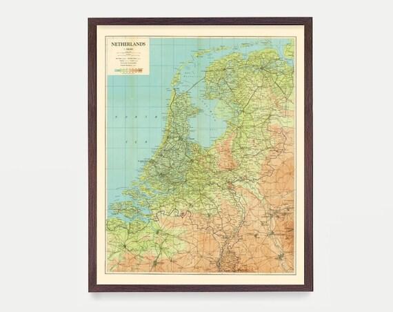 Netherlands Map, Netherlands Map Art, Map Decor, Netherlands Art, Amsterdam Art, Amsterdam Wall Art, Dutch Map, Dutch Art, Holland