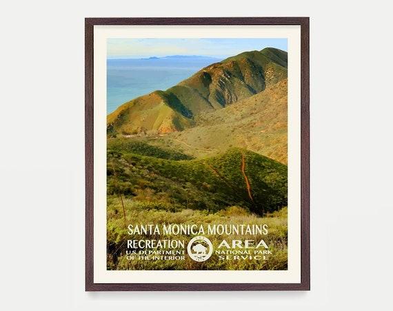 Santa Monica Mountains Poster - Santa Monica Art - Los Angeles Art - WPA - WPA Poster  WPA Art - California Wall Art - Beach - Pacific Ocean