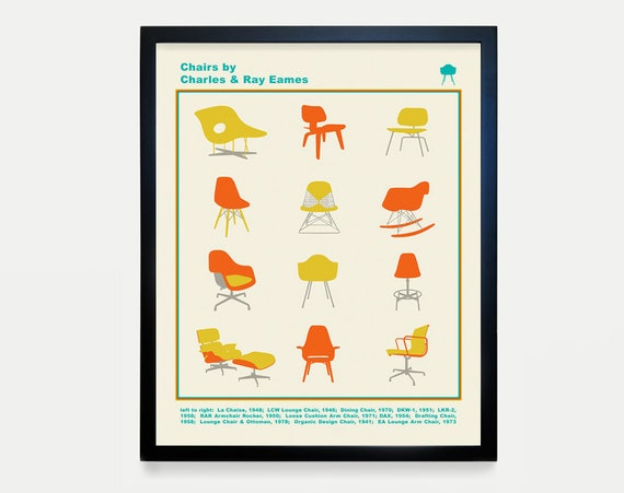 Eames Chair Typology Poster - Eames Art - Mid Century Wall Art - Mid Century Poster - Charles Eames - Ray Eames - Chair Design - Design Art