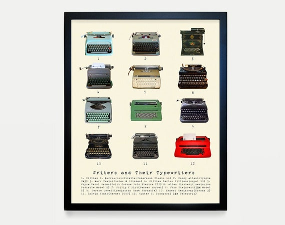 Writers and Their Typewriters - Literary Poster - History of Literature - History of Typewriters - Typewriter Poster - Book Gift - Book Art