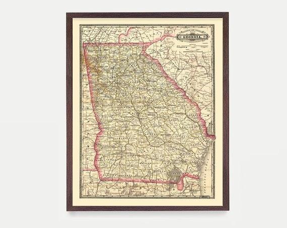 Georgia Map, GA Map Art, Map Decor, State Map, Georgia Art, Georgia Decor, Georgia Wall Art, Old Map, Map Wall Decor, Georgia, Home Decor