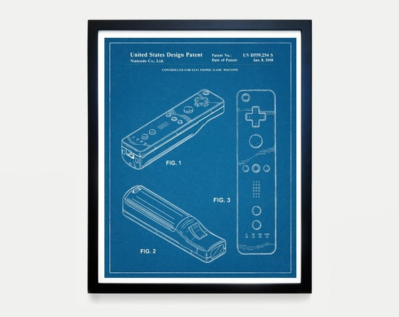 Nintendo Wi Controller - Video Game Art - Video Game Poster - Nintendo Patent - Video Game Wall Art - Nintendo WI Art - Nintendo Patent Art