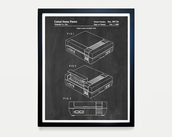 Nintendo NES Console - Video Game Art - Video Game Poster - Nintendo Patent - Video Game Wall Art - NES Art - Nintendo Patent Art