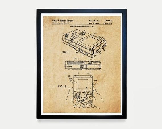 Nintendo Gameboy - Video Game Art - Video Game Poster - Gameboy Patent - Video Game Wall Art - Gameboy Poster- Nintendo Patent Art