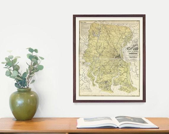 Savannah GA Map, Georgia Map, Map Art, Map Decor, City Map, Chatham County, Savannah Poster, Savannah Gift, Savannah Wall Art