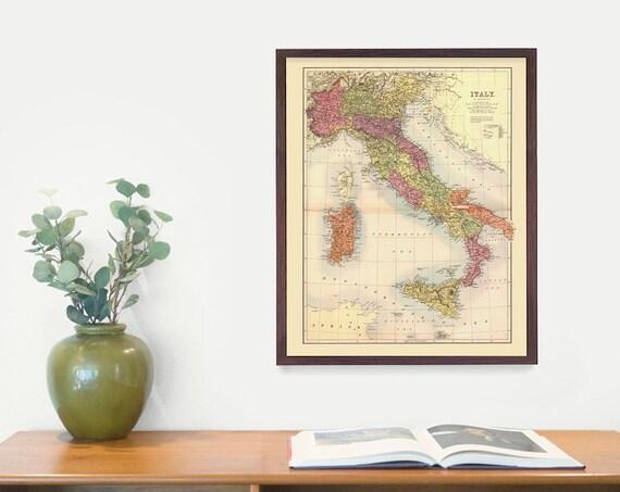 Italy Map - Map Art - Map Decor - Italy Art - Italy Map Art - Italy Wall Art - Italian Art - Italy Poster - vintage Italy  Rome - Italy Gift