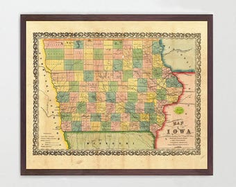 Map of iowa | Etsy