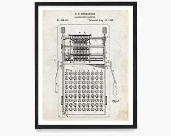 First Calculator Patent Print P628 Burroughs Calculator Poster First Calculator Art