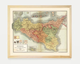 photograph regarding Printable Map of Sicily known as Sicily print Etsy