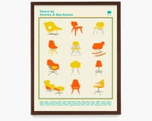 Eames Chair Typology Poster, Eames Art, Mid Century Wall Art, Mid Century Poster,Charles Eames, Ray Eames, Chair Design, Design Art
