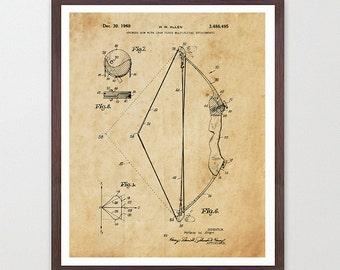 archery patent poster - bow and arrow - archery art - archery poster -  archery wall art - bow and arrow art - bow patent - bow poster - hunt