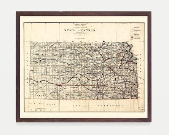 Kansas Map - Kansas Art - Kansas Poster - Kansas Decor - Kansas Wall Art - Kansas City - Topeka - Wichita - Vintage Kansas - Map Art
