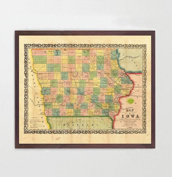 Iowa Map - Vintage Iowa Map - Iowa Art - Iowa Poster - Iowa Print - Decor - Iowa City - Map Art - State Map - Iowa State - Iowa - Old Map