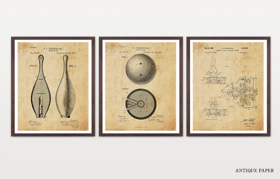 Bowling Patent Set - Bowling Art - Inventions of Bowling - Bowling Ball Patent - Bowling Pins - Vintage Bowling - Bowling Patent Art