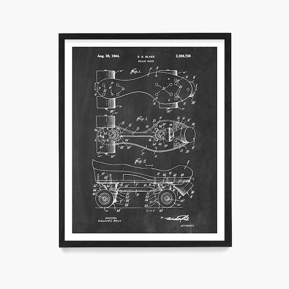 Roller Skate Patent, Roller Skate Poster, Roller Derby, Roller Skate Art, Retro Skates, Roller Derby Poster, Roller Skate Gift