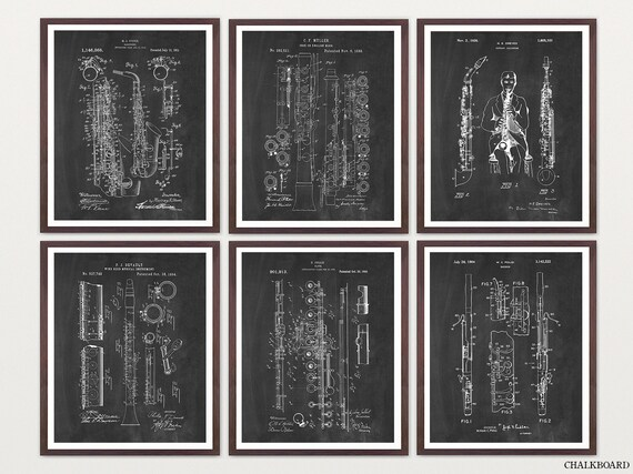 Woodwind Instrument Patent Art - Woodwind Poster - Woodwind Art - Saxophone Art - Saxophone Poster - Oboe - Clarinet - Flute - Flute Poster