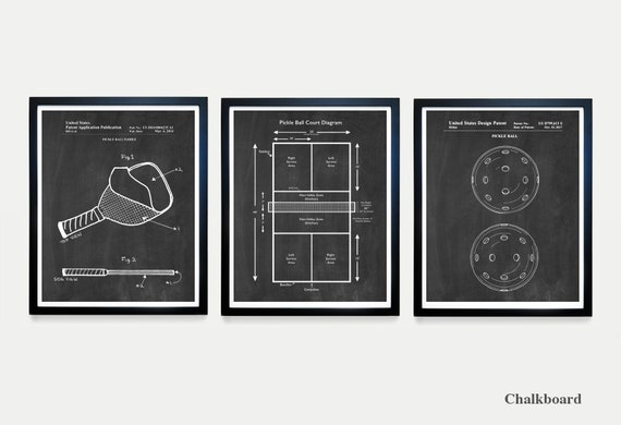 Pickleball Patent Wall Art, Pickleball Paddle, Pickleball Court Diagram, Pickleball Gift