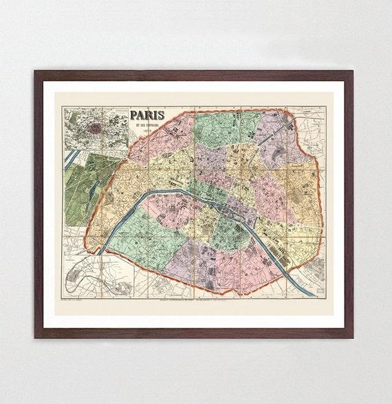 Paris Map - Paris Map Art - Map Decor - Paris Art - France Art - France Map Art - Paris Wall Art - Paris - Vintage Paris - Paris France