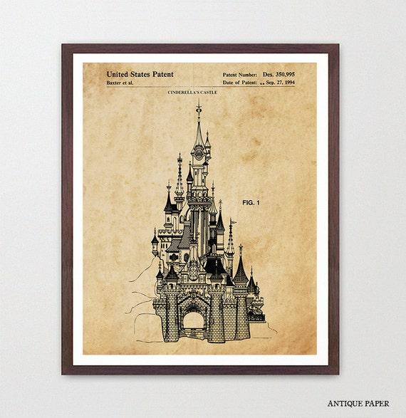 Disneyland Patent - Disneyland Patent Art - Cinderella - Magic Kingdom - Disneyland - Disney World Art - Girls Room Art - Girls Room Poster