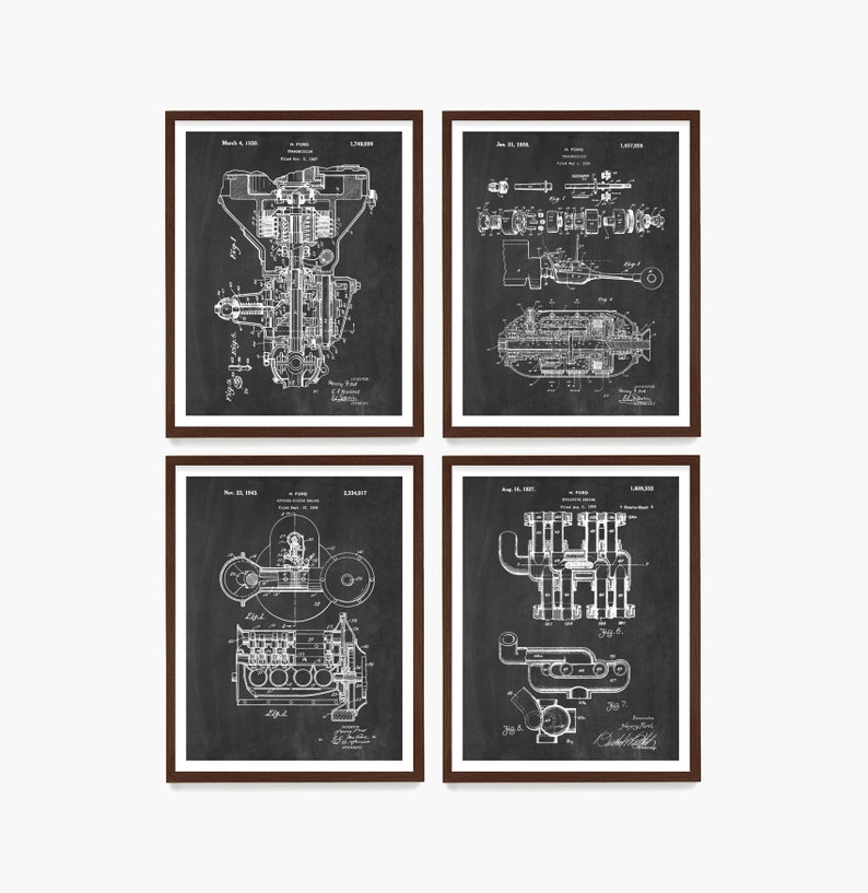 Ford Patent Poster Henry Ford Patent Car Engine Diagram Chalkboard
