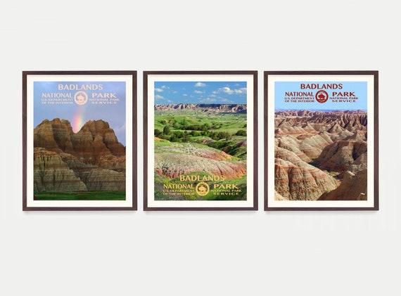 Badlands National Park Poster- Badlands Poster - Badlands National Park Art - National Park Poster -WPA Poster - South Dakota - Camping Gift