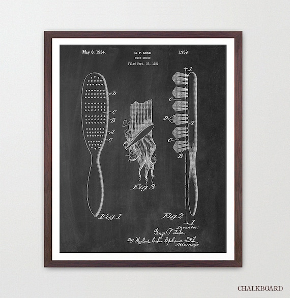 Hair Brush - Hair Poster - Hair Salon - Hair Art - Beauty Poster - Fashion Poster - Patent - Fashion Inspiration - Bathroom Art - Vanity