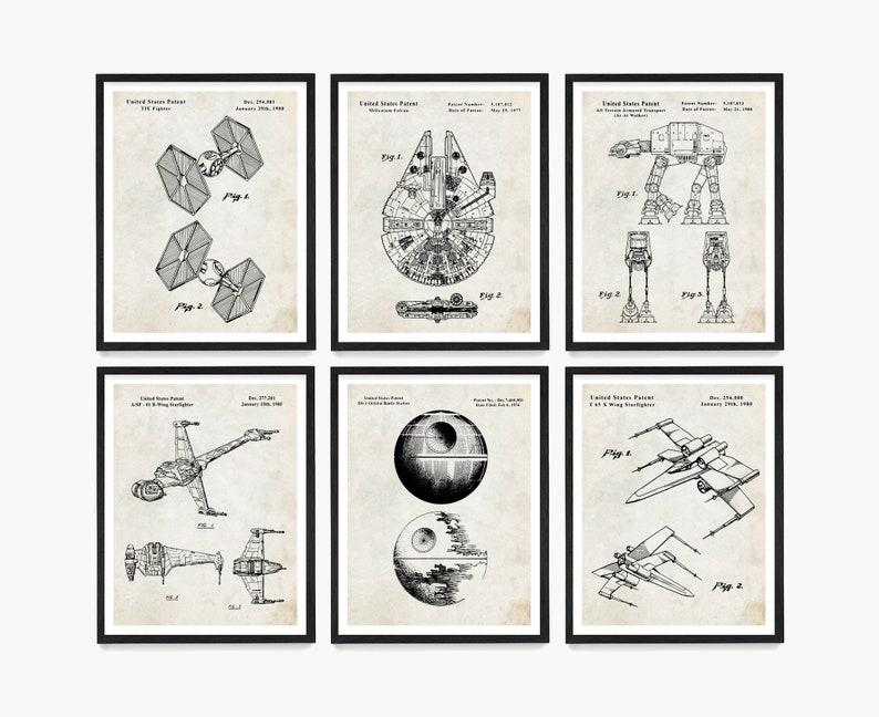 Star Wars Patent Art Star Wars Poster  Millenium Falcon TIE Parchment