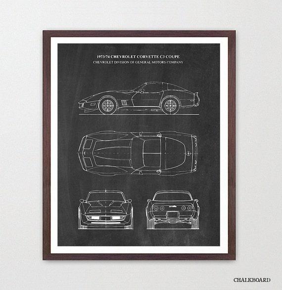 Corvette Blueprint - Corvette Poster - Corvette Patent Art - 1974 Corvette - Corvette Art - Corvette Wall Art - Sports Car Art - Boys Room