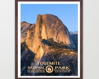 Yosemite National Park - Yosemite Poster - Yosemite National Park Art - National Park Poster - WPA - WPA Poster - WPA Art - Half Dome