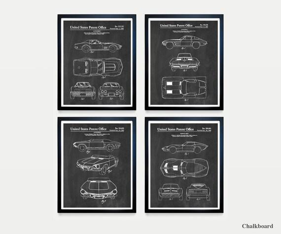 Corvette Patent Art - Corvette Poster - Corvette Patent Art - Corvette Wall Art - Car Lover - Chevrolet - Corvette Gift - Boys Room
