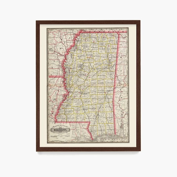Mississippi Map, MS Map Art, Map Decor, State Map, Mississippi  Art, Mississippi  Decor, Mississippi  Wall Art, Map Wall Decor