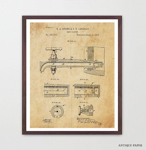 Beer Poster, Beer Patent Art, Keg, Beer Brewing, Brewery Art, Beer Decor, Bar, Beer Patent, Beer Wall Art, Home Brew, Kitchen Art
