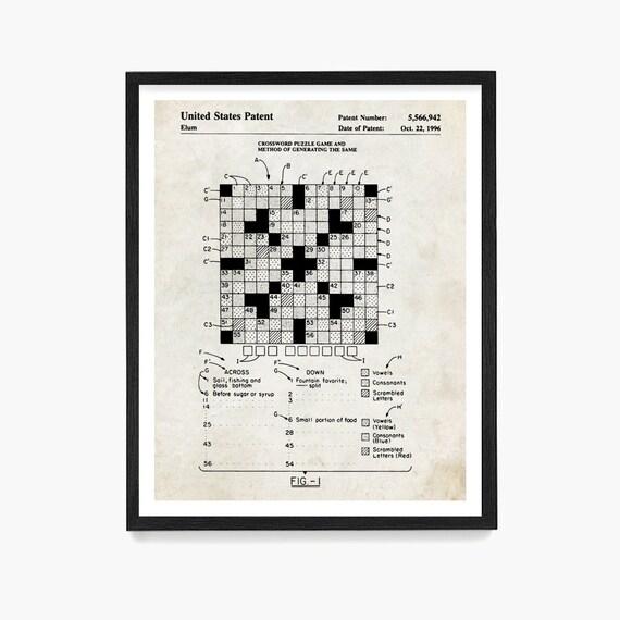 Crossword Puzzle Patent Art, New York Times Crossword Puzzle, Crossword Art, Crossword Puzzler, Puzzle Art, Crossword Puzzle Gift